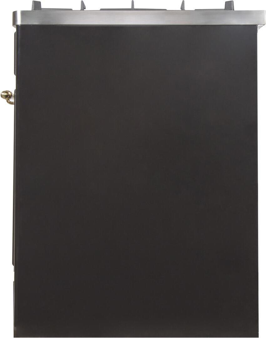 Ilve Majestic II UM30DNE3BKGLP Freestanding Dual Fuel Range Black, UM30DNE3BKGLP-Right-CD