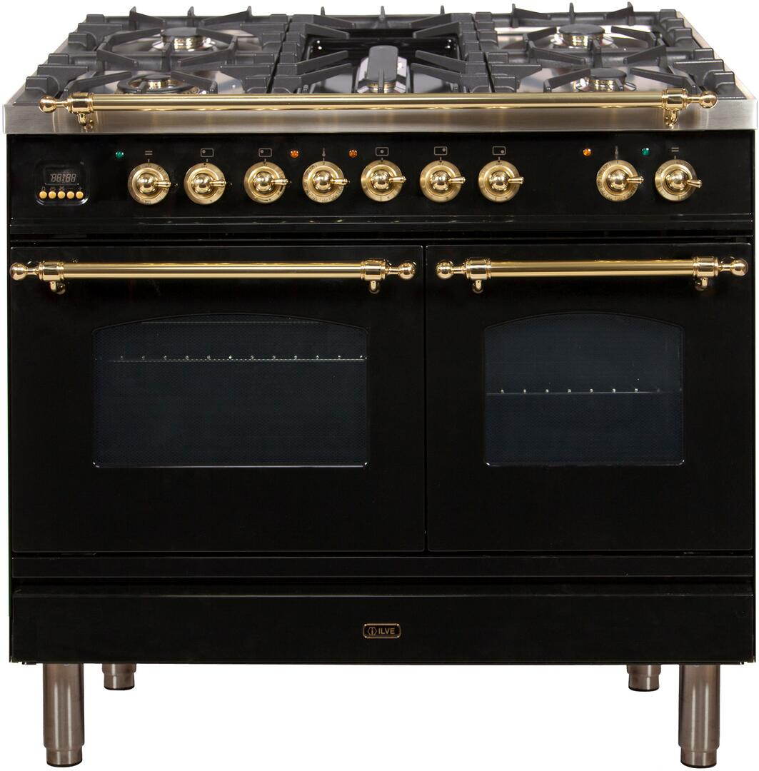 40 Inch Glossy Black Dual Fuel Convection Freestanding Range