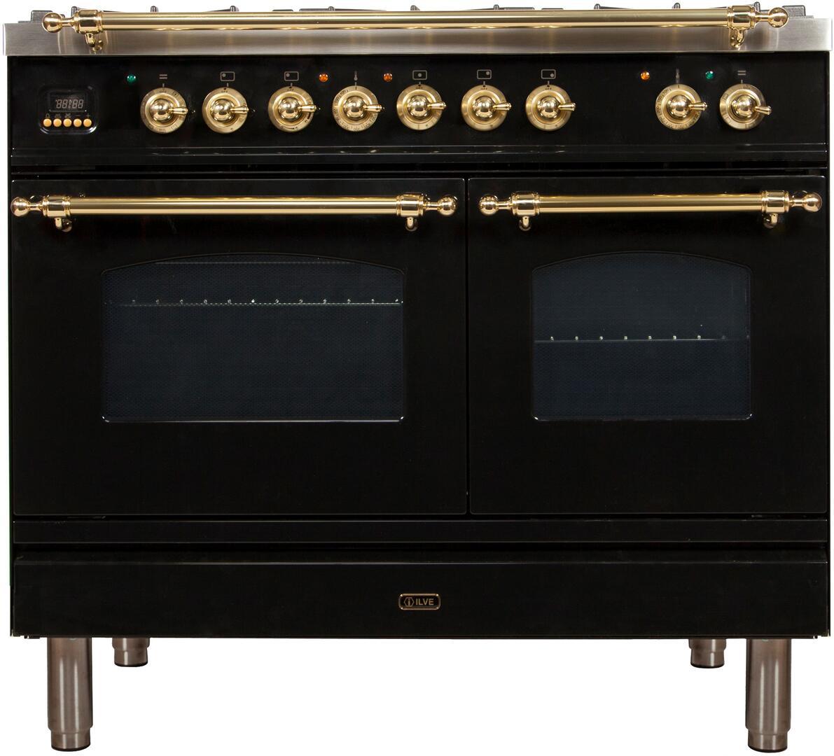 Ilve Nostalgie UPDN100FDMPNLP Freestanding Dual Fuel Range Black, UPDN100FDMPNLP Front View