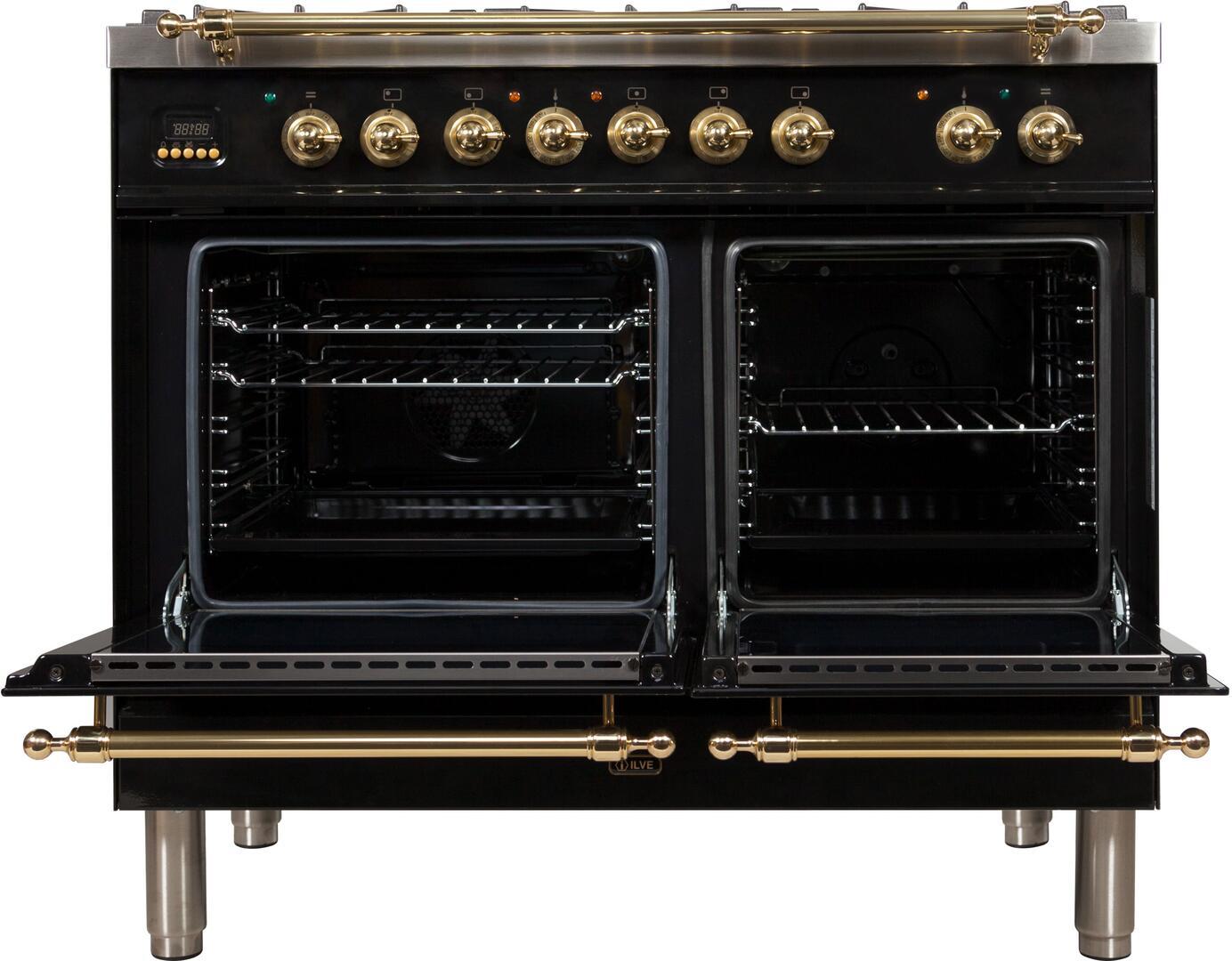 Ilve Nostalgie UPDN100FDMPNLP Freestanding Dual Fuel Range Black, UPDN100FDMPNLP Oven Doors Opened
