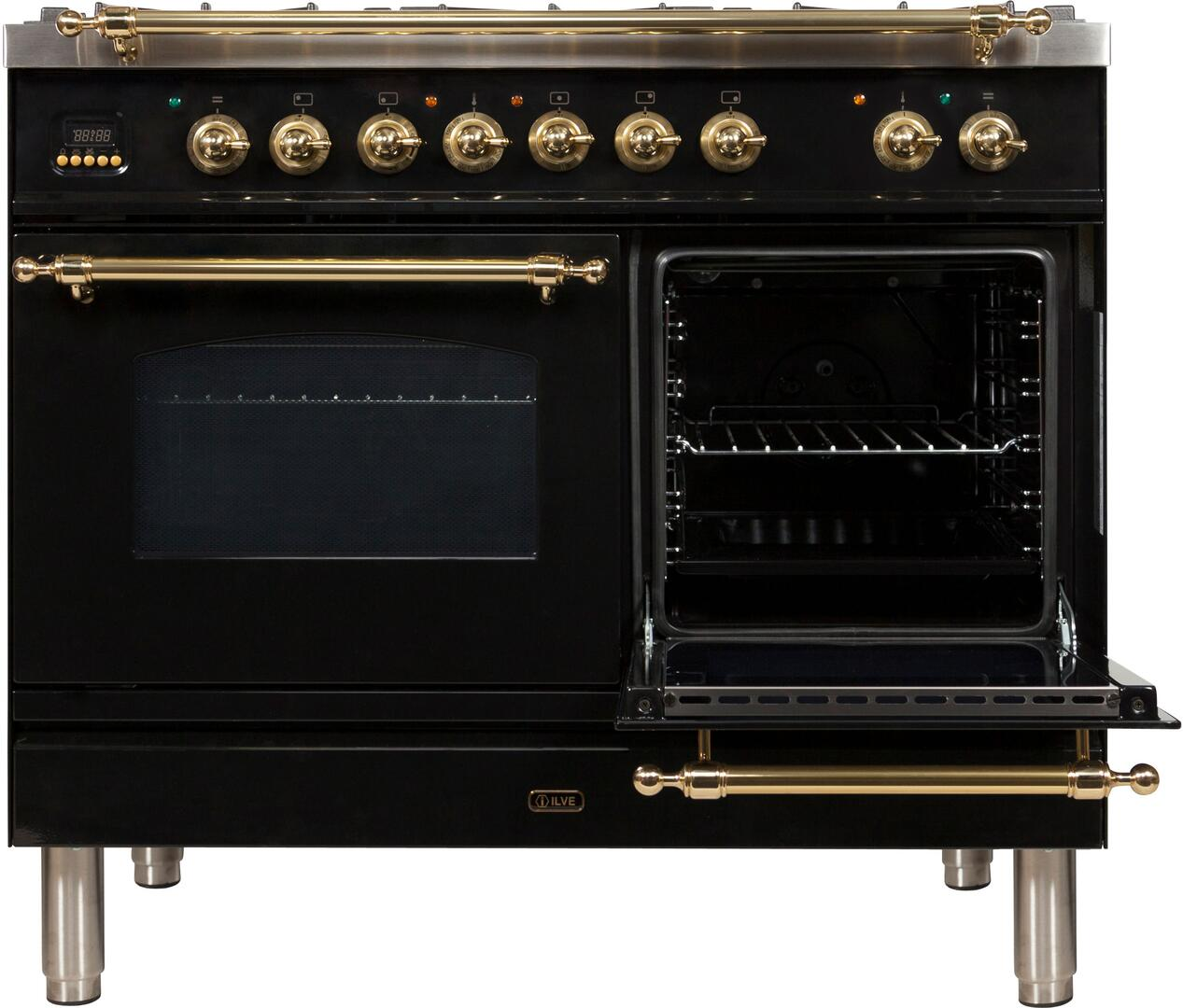 Ilve Nostalgie UPDN100FDMPNLP Freestanding Dual Fuel Range Black, UPDN100FDMPNLP Secondary Oven Door Opened