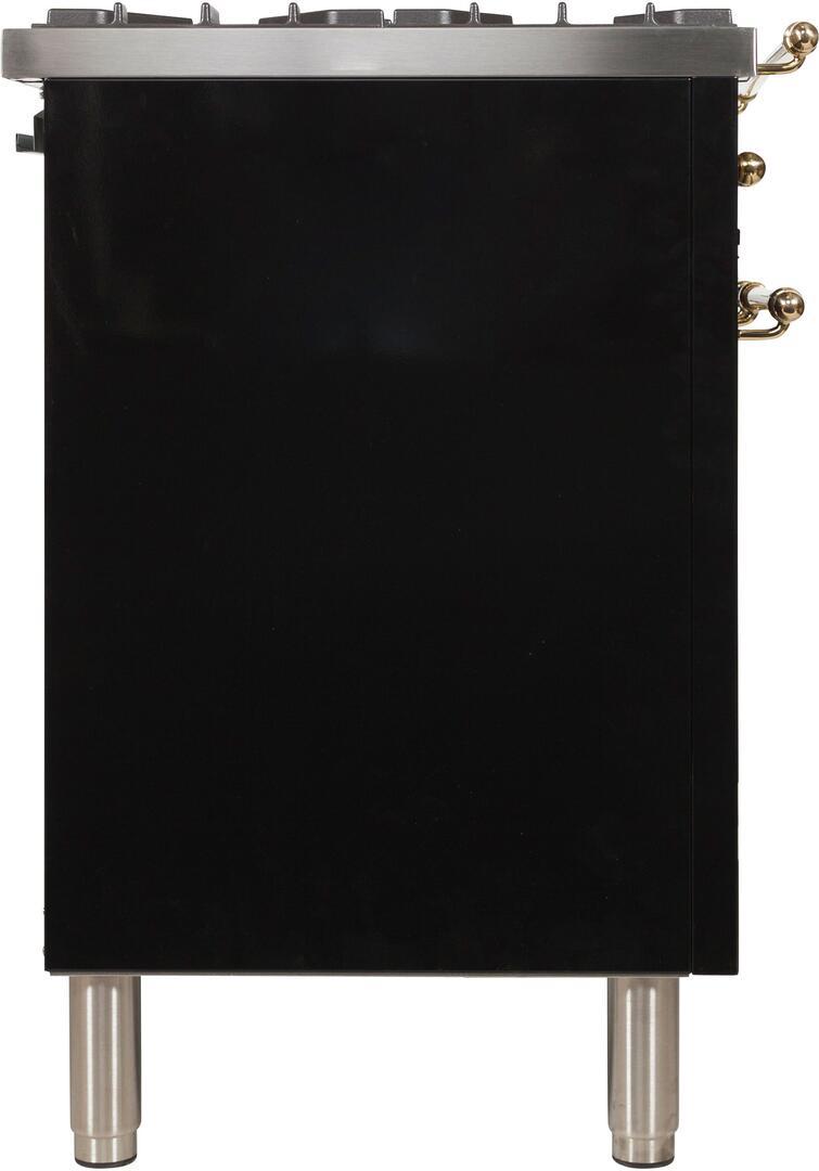 Ilve Nostalgie UPDN100FDMPNLP Freestanding Dual Fuel Range Black, UPDN100FDMPNLP Side View