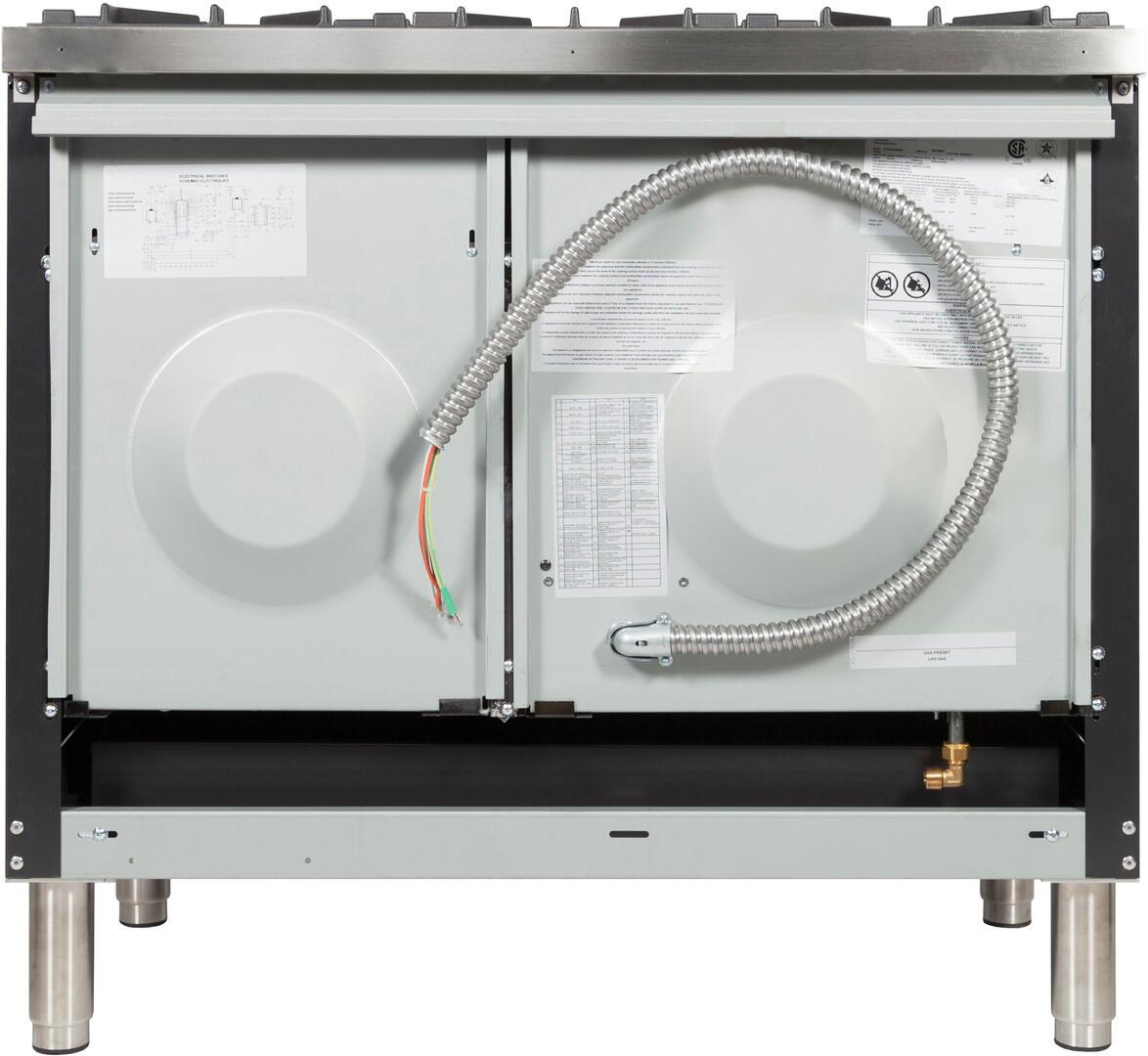 Ilve Nostalgie UPDN100FDMPNLP Freestanding Dual Fuel Range Black, UPDN100FDMPNLP Back View