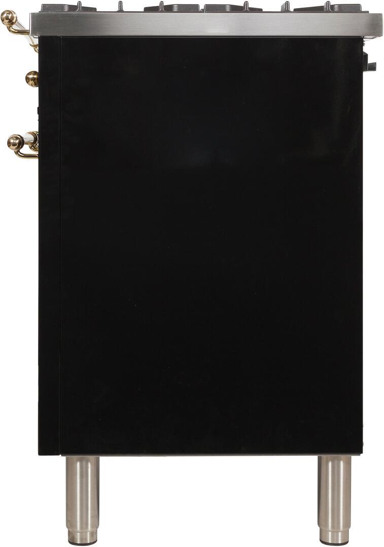 Ilve Nostalgie UPDN100FDMPNLP Freestanding Dual Fuel Range Black, ILVE UPDN100FDMPNLPRange Side left
