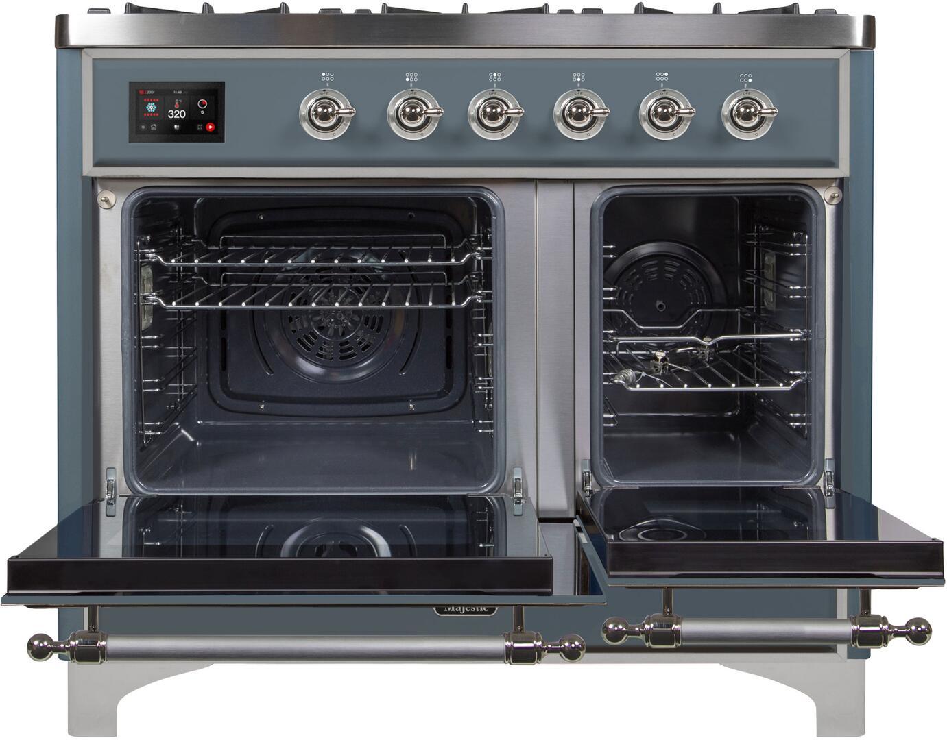 Ilve Majestic II UMD10FDNS3BGC Freestanding Dual Fuel Range , UMD10FDNS3GUC Oven Doors Opened