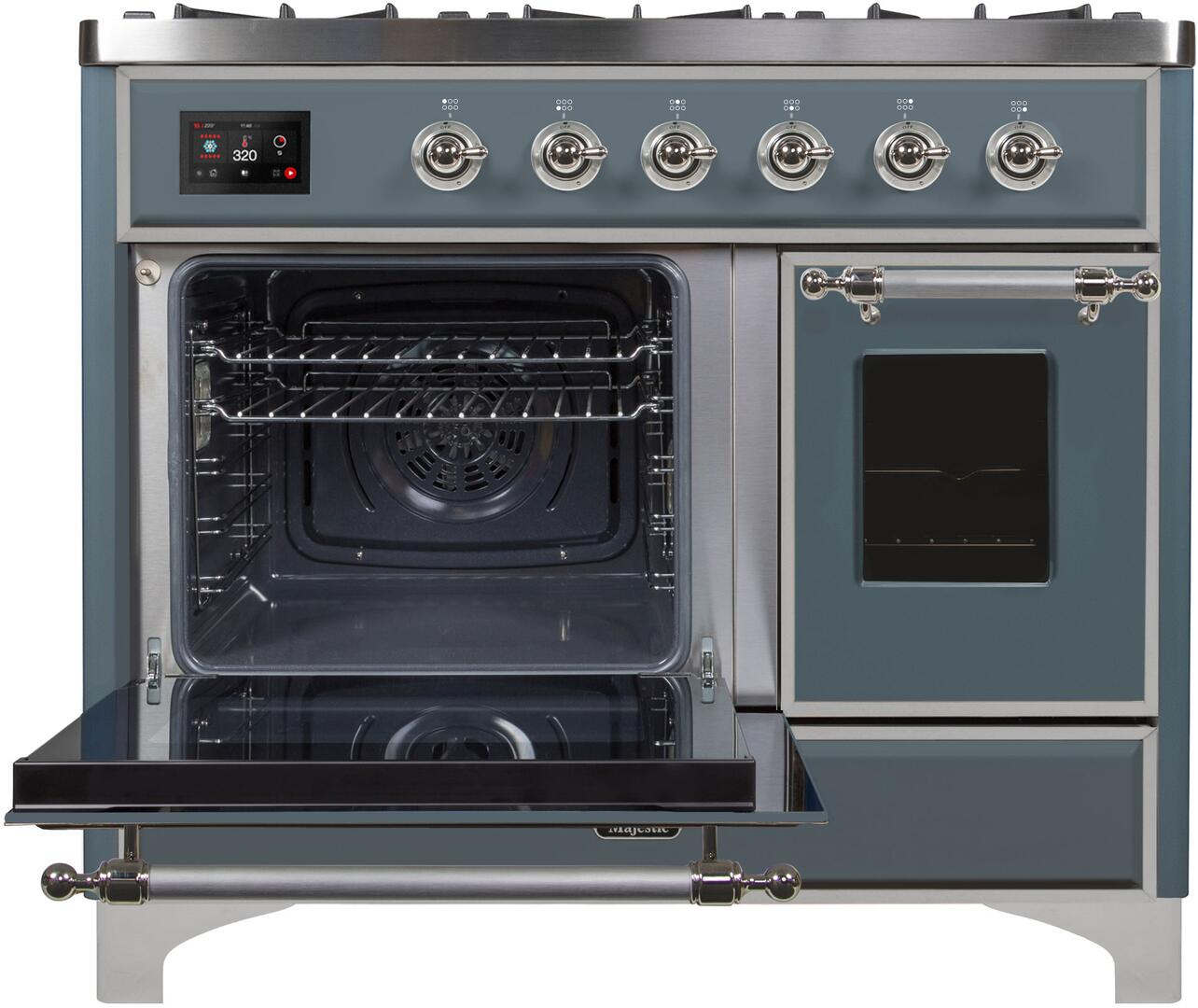 Ilve Majestic II UMD10FDNS3BGC Freestanding Dual Fuel Range , UMD10FDNS3GUC Main Oven Door Opened