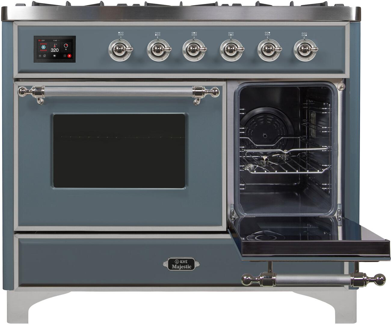 Ilve Majestic II UMD10FDNS3BGC Freestanding Dual Fuel Range , UMD10FDNS3GUC Side Oven Door Opened