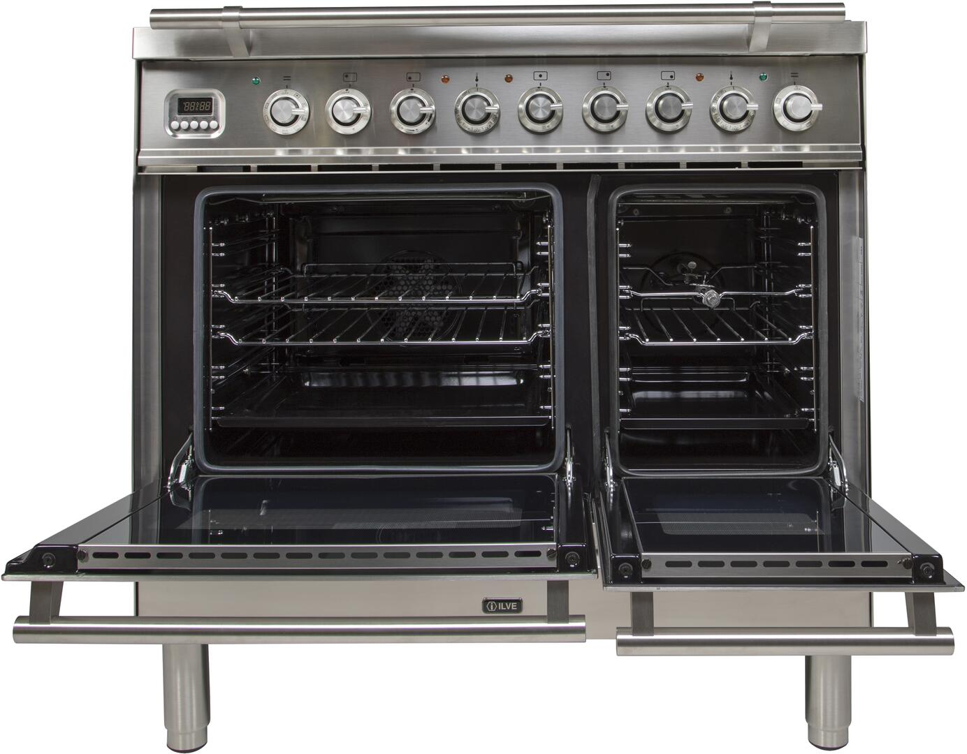 Ilve Professional Plus UPDW90FDMPILP Freestanding Dual Fuel Range Stainless Steel, UPW90FDMPI Oven Doors Opened