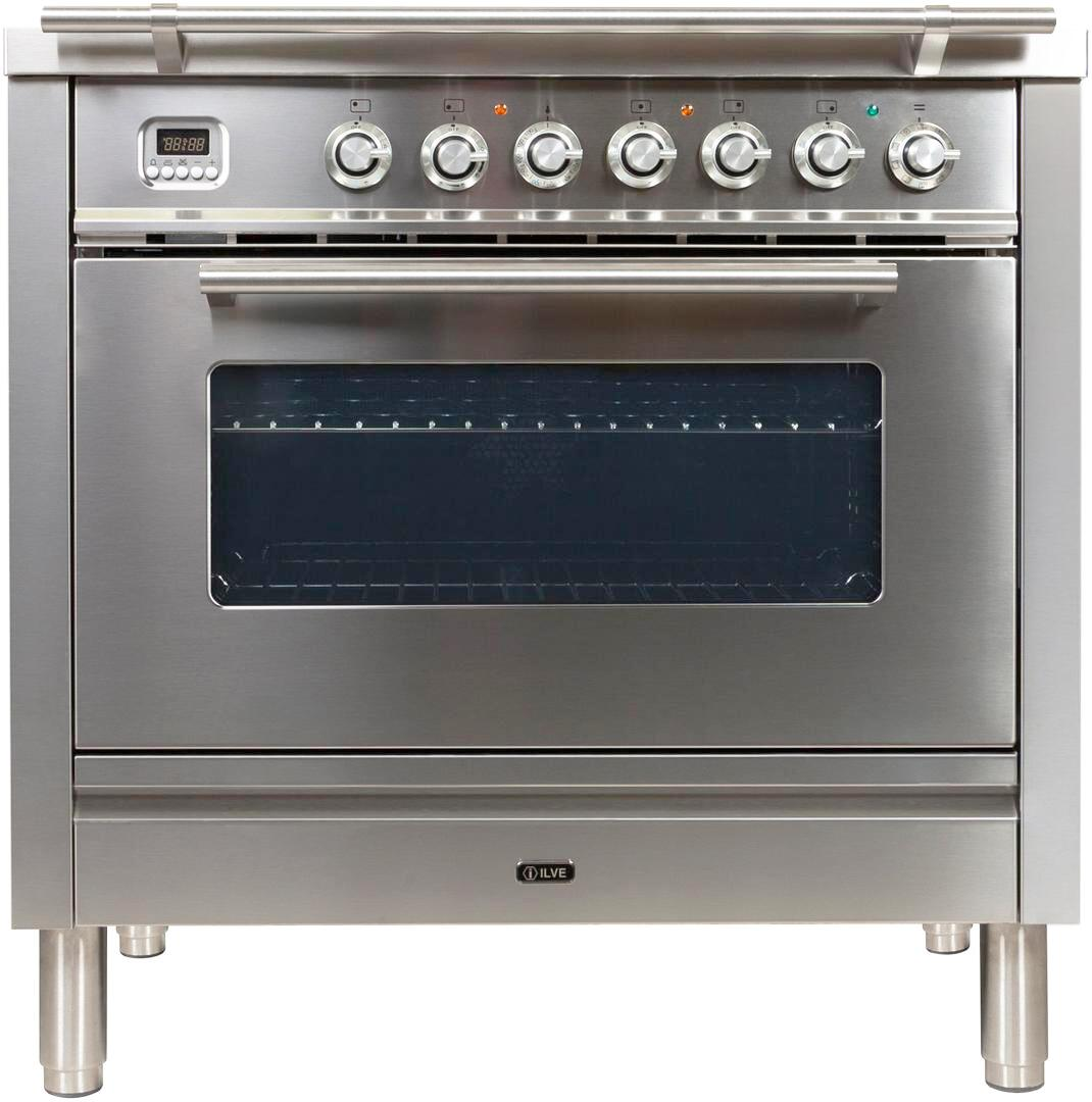 Ilve Professional Plus UPW90FDMPILP Freestanding Dual Fuel Range Stainless Steel, UPW90FDMPILP Front View