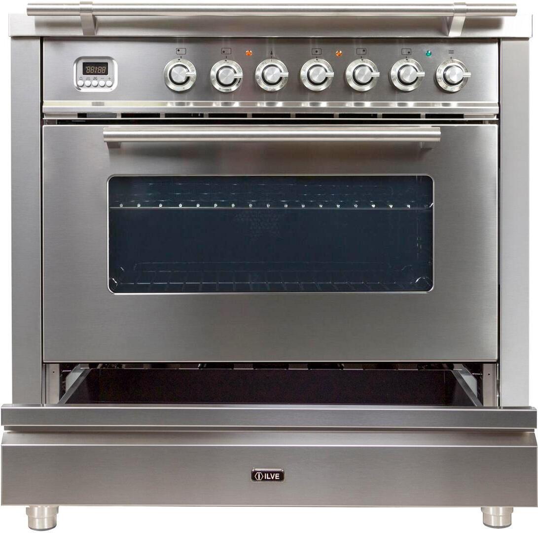 Ilve Professional Plus UPW90FDMPILP Freestanding Dual Fuel Range Stainless Steel, UPW90FDMPI Dishwarming drawer
