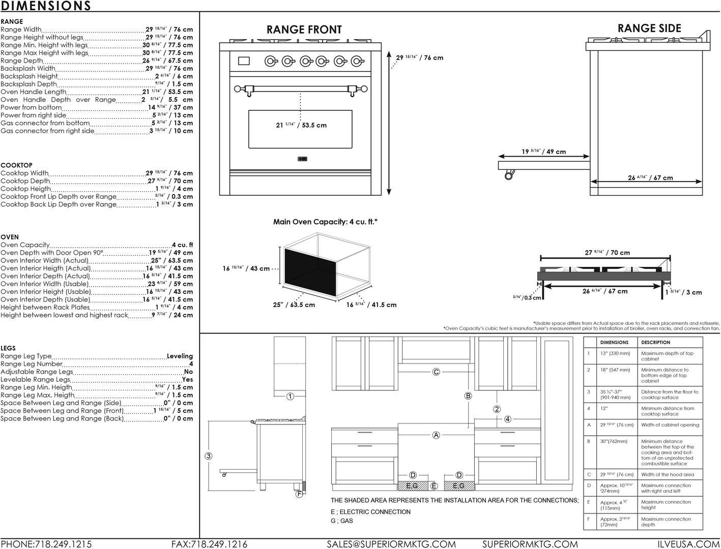 Ilve Majestic II UM30DNE3SSP Freestanding Dual Fuel Range Stainless Steel, UM30D-Dimensiond