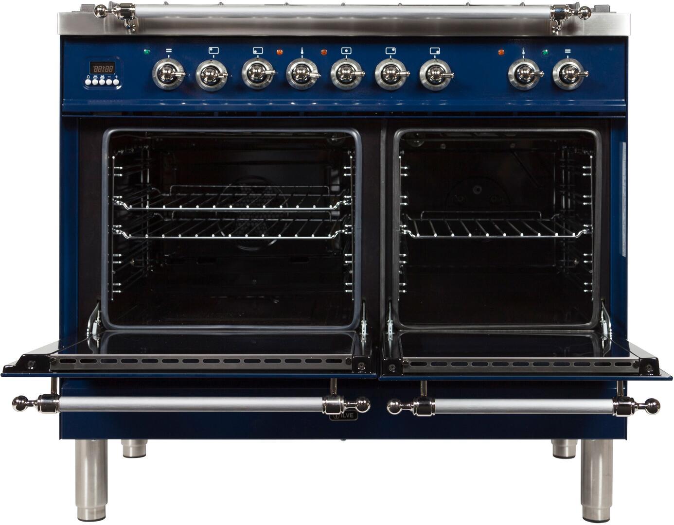 Ilve Nostalgie UPDN100FDMPBLXLP Freestanding Dual Fuel Range Blue, UPDN100FDMPBLXLP Oven Doors Opened