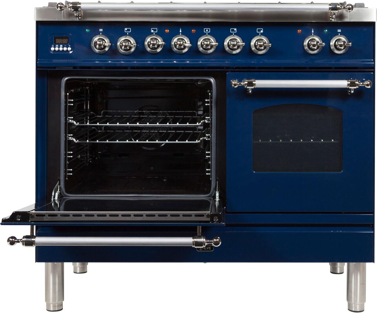 Ilve Nostalgie UPDN100FDMPBLXLP Freestanding Dual Fuel Range Blue, UPDN100FDMPBLXLP Main Oven Door Opened
