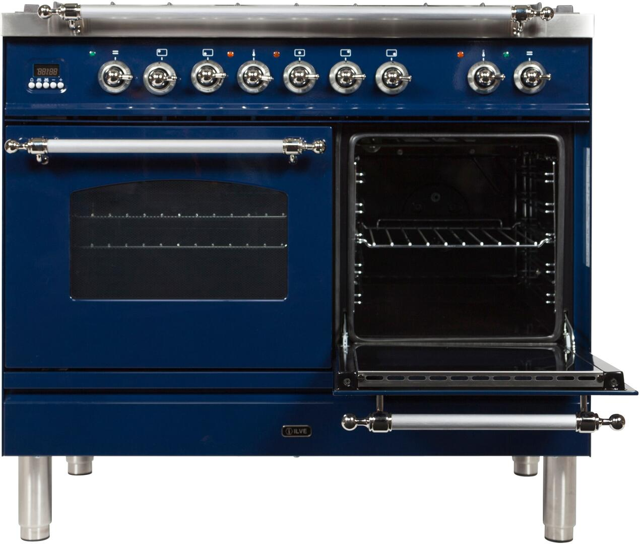 Ilve Nostalgie UPDN100FDMPBLXLP Freestanding Dual Fuel Range Blue, UPDN100FDMPBLXLP Secondary Oven Door Opened