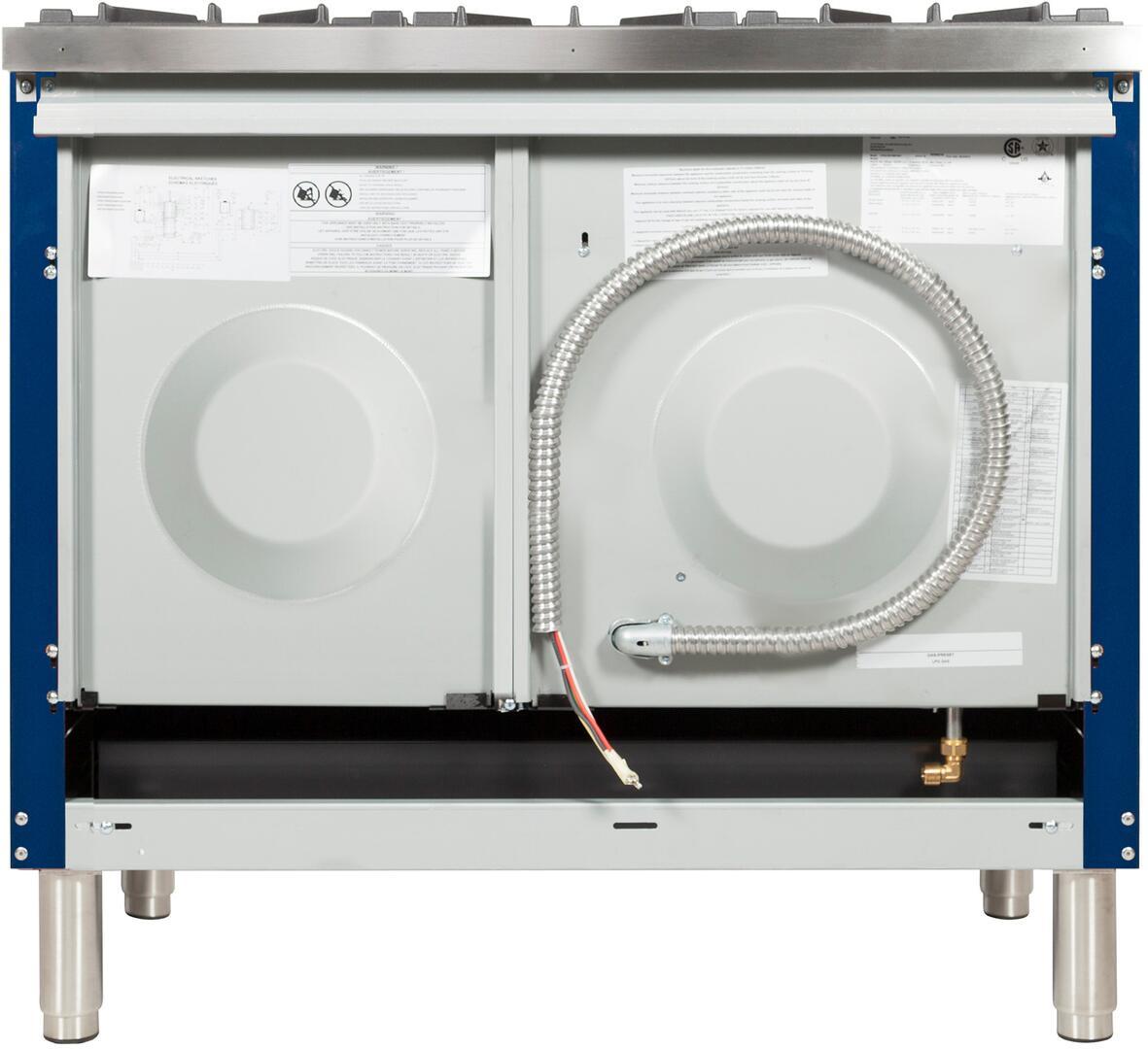 Ilve Nostalgie UPDN100FDMPBLXLP Freestanding Dual Fuel Range Blue, UPDN100FDMPBLXLP Back View