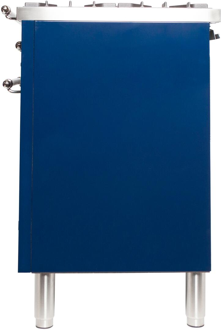 Ilve Nostalgie UPDN100FDMPBLXLP Freestanding Dual Fuel Range Blue, ILVE UPDN100FDMPBLXLP Range Side Left