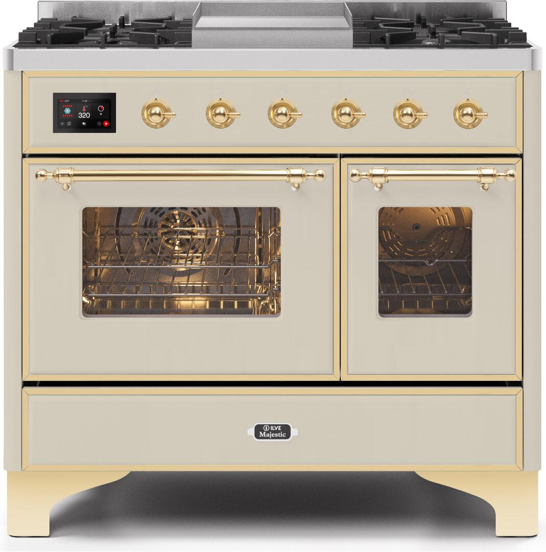 Ilve Majestic II UMD10FDNS3AWGLP Freestanding Dual Fuel Range Bisque, UMD10FDNS3AWGLP-Front-CD-A