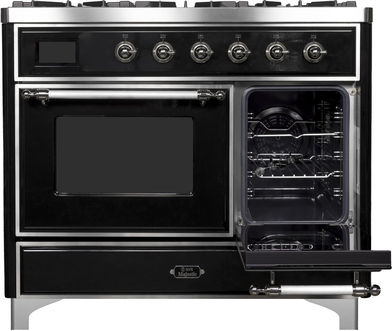 Ilve Majestic II UMD10FDNS3BKC Freestanding Dual Fuel Range Black, UMD10FDNS3BKC Side Oven Door Opened