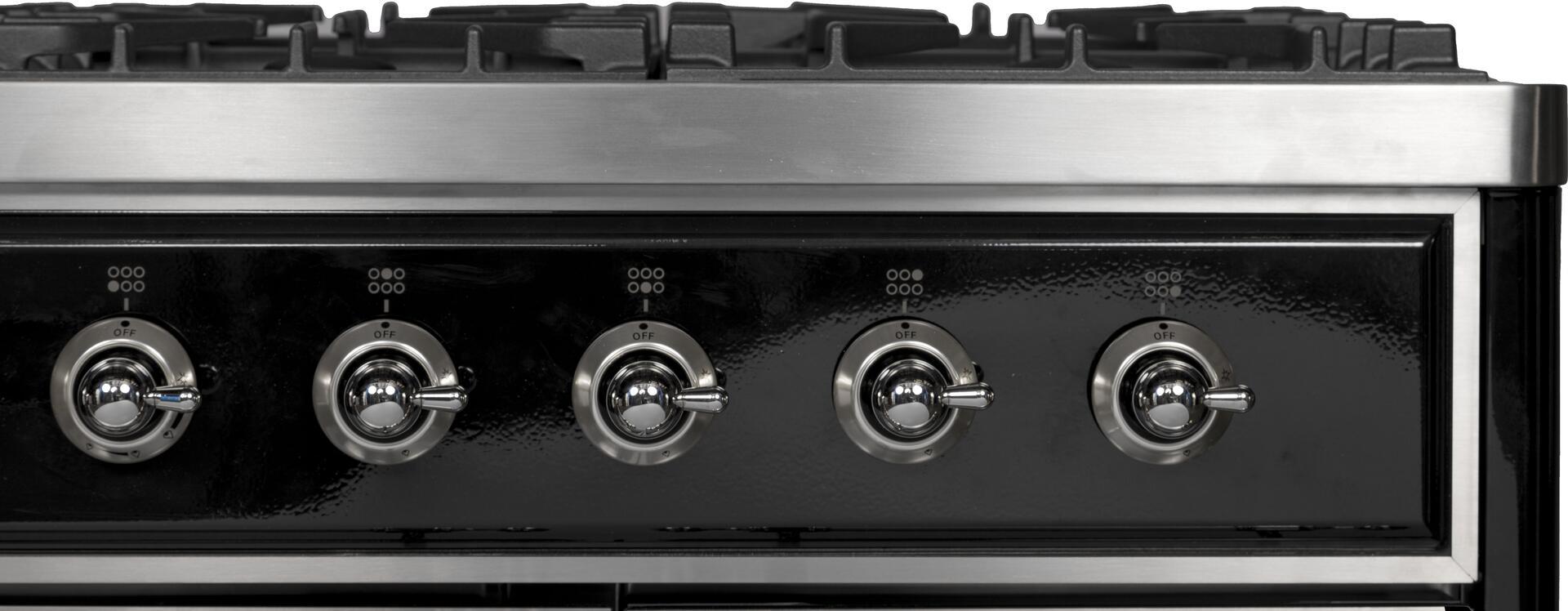 Ilve Majestic II UMD10FDNS3BKC Freestanding Dual Fuel Range Black, UMD10FDNS3BKC Close Up Details
