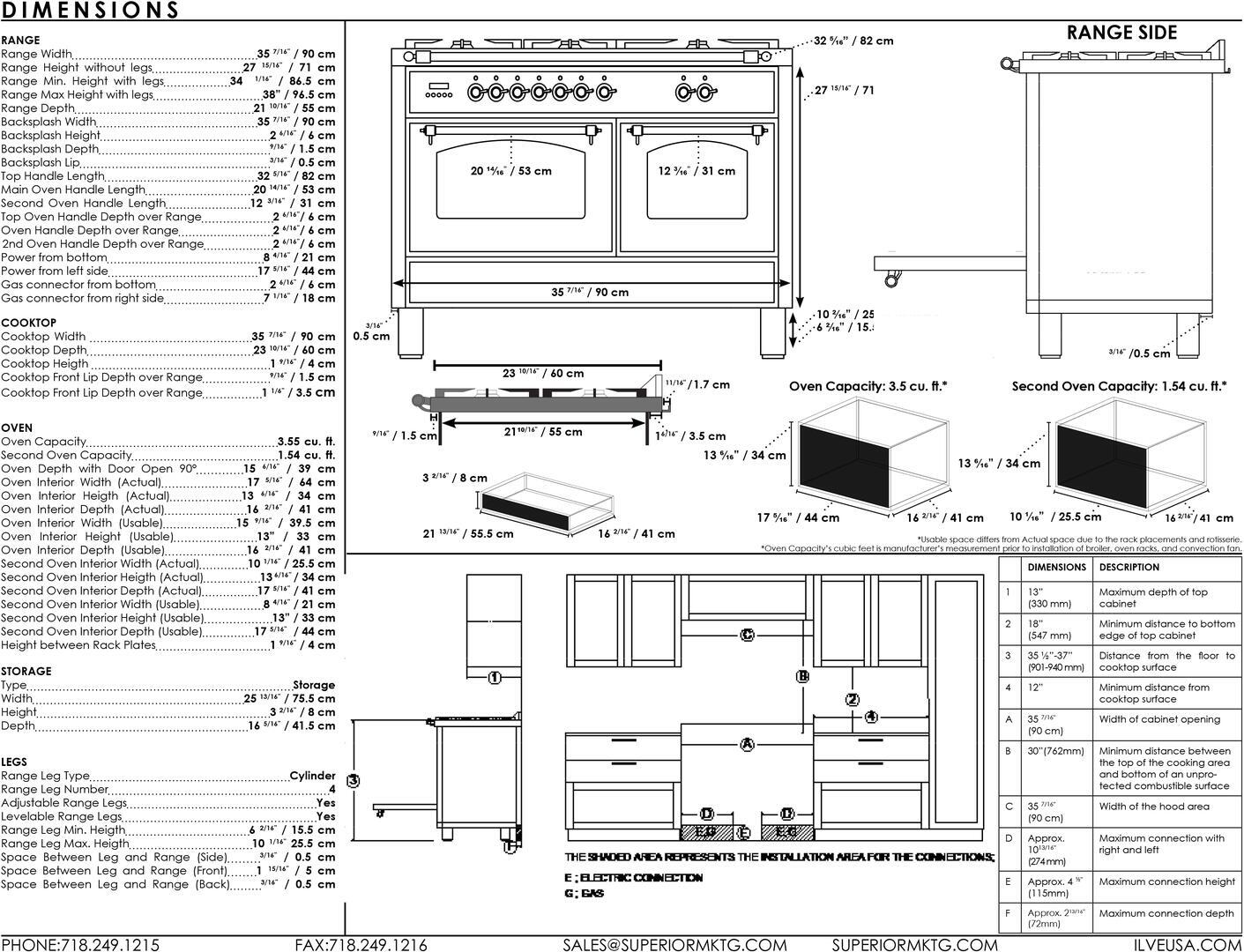 Ilve Professional Plus UPDW90FDMPM Freestanding Dual Fuel Range Gray, Dimensions Guide