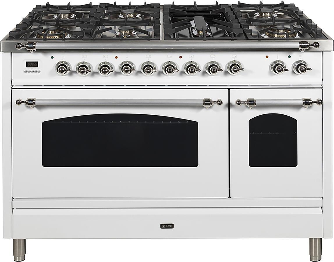 Ilve Nostalgie UPN120FDMPBX Freestanding Dual Fuel Range White, UPN120FDMPBX Dual Fuel Range Gas RangeFront CD A