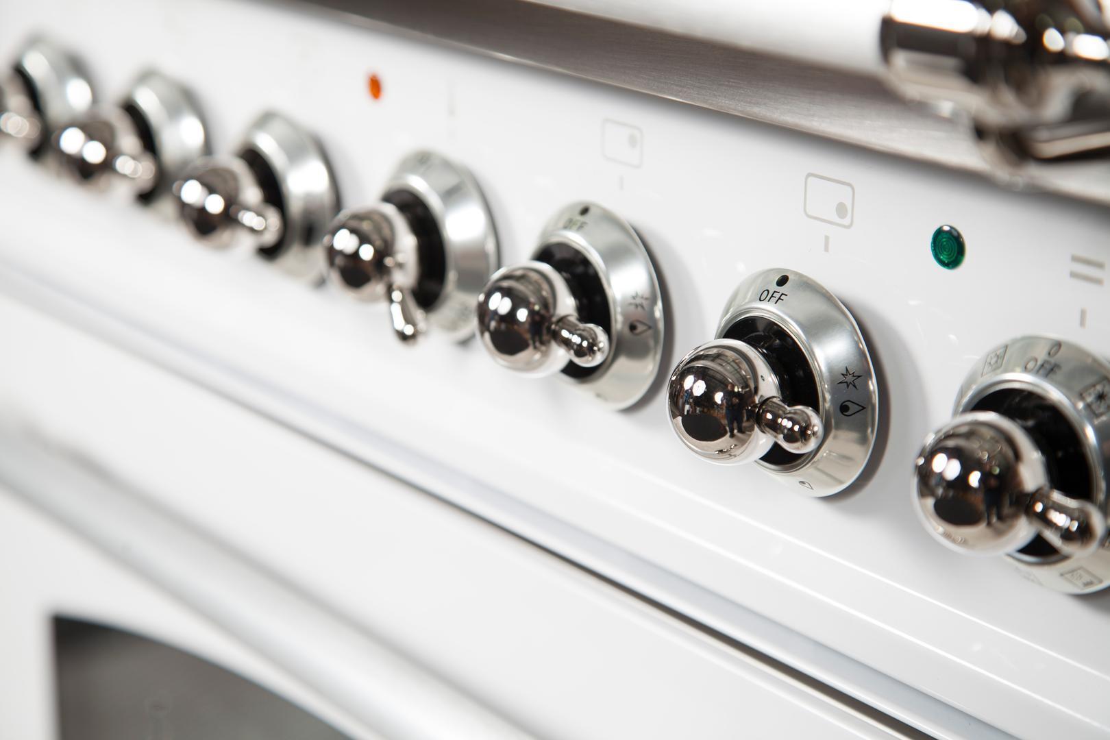 Ilve Nostalgie UPN120FDMPBX Freestanding Dual Fuel Range White, UPN120FDMPBX Details