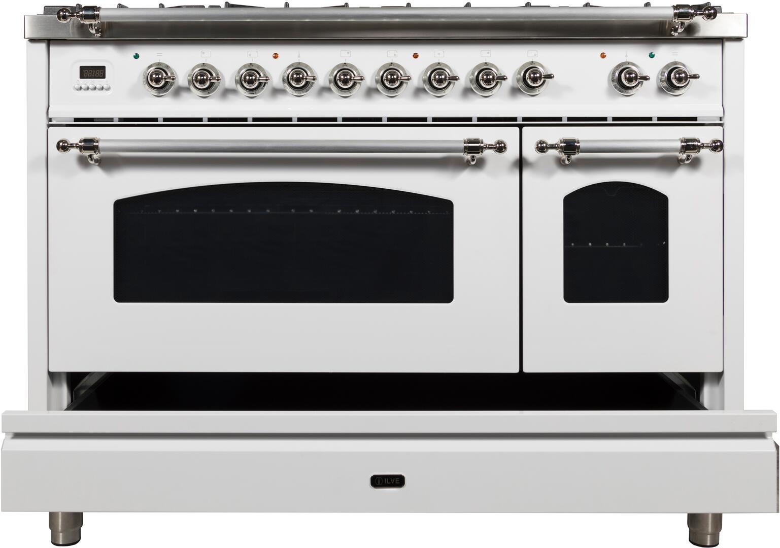 Ilve Nostalgie UPN120FDMPBX Freestanding Dual Fuel Range White, UPN120FDMPBX Dishwarming Drawer
