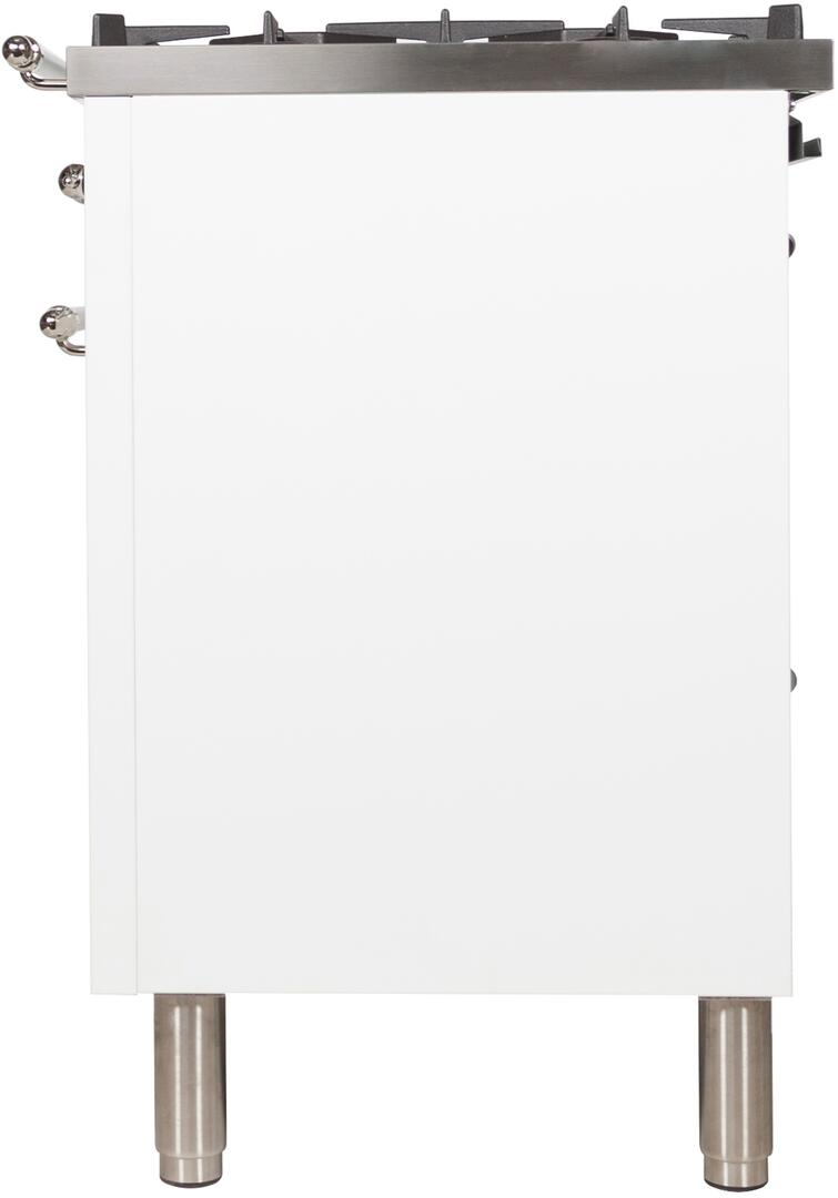 Ilve Nostalgie UPN120FDMPBX Freestanding Dual Fuel Range White, UPN120FDMPBX Side View 2