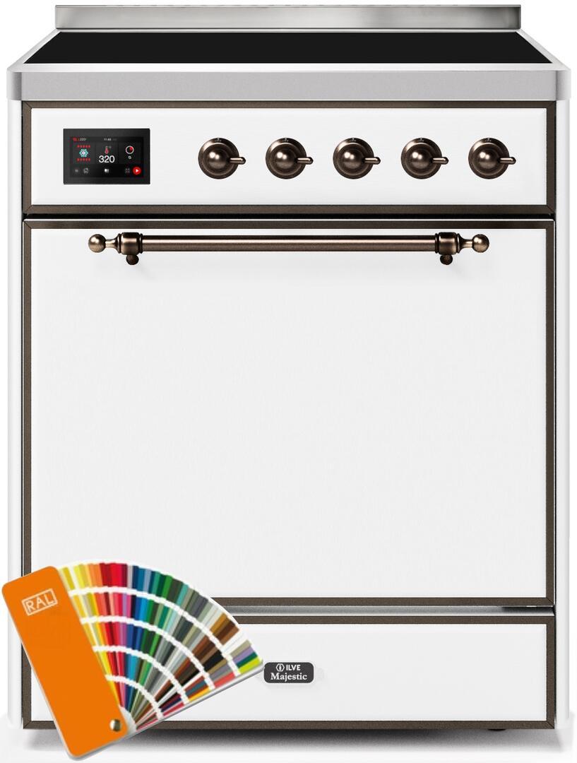 Ilve Majestic II UMI30QNE3RALB Freestanding Electric Range Custom Color, UMI30QNE3RALB-Front-CD-A