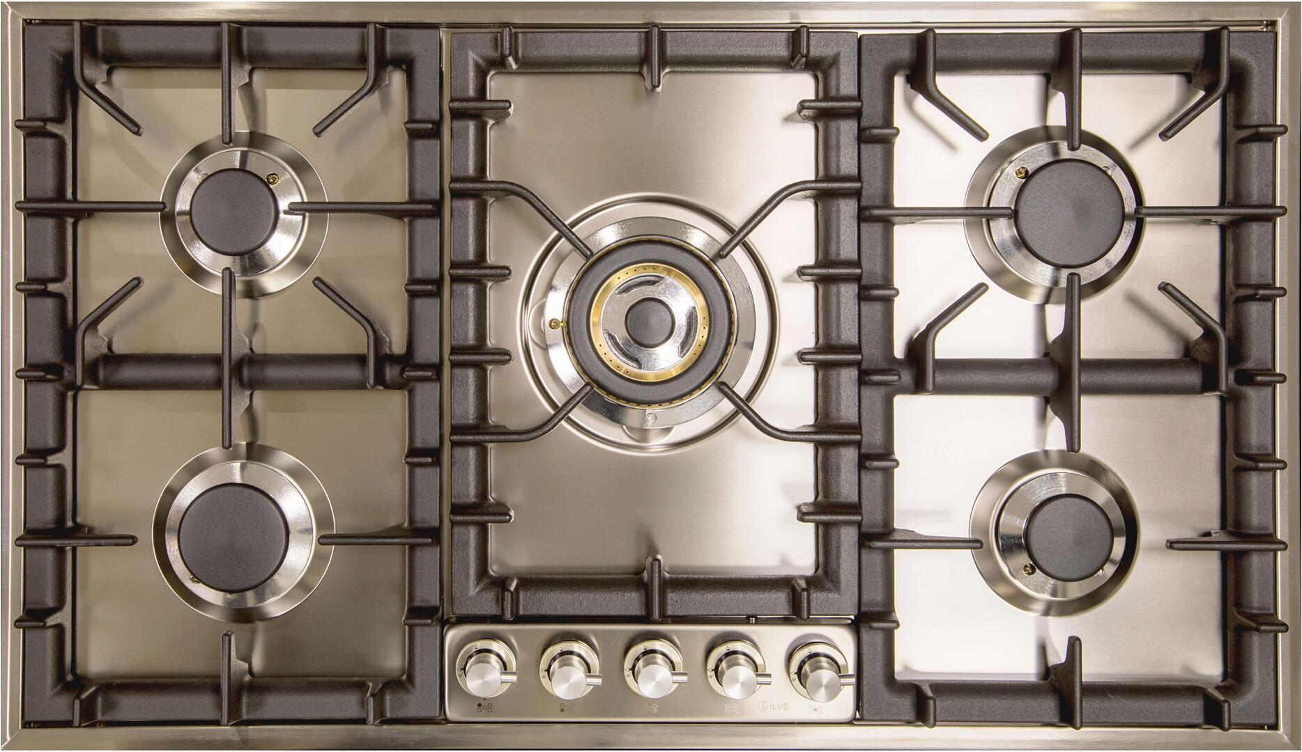 Ilve  UHP95CI Gas Cooktop Stainless Steel, UHP95C/I 5 Burner Cooktop