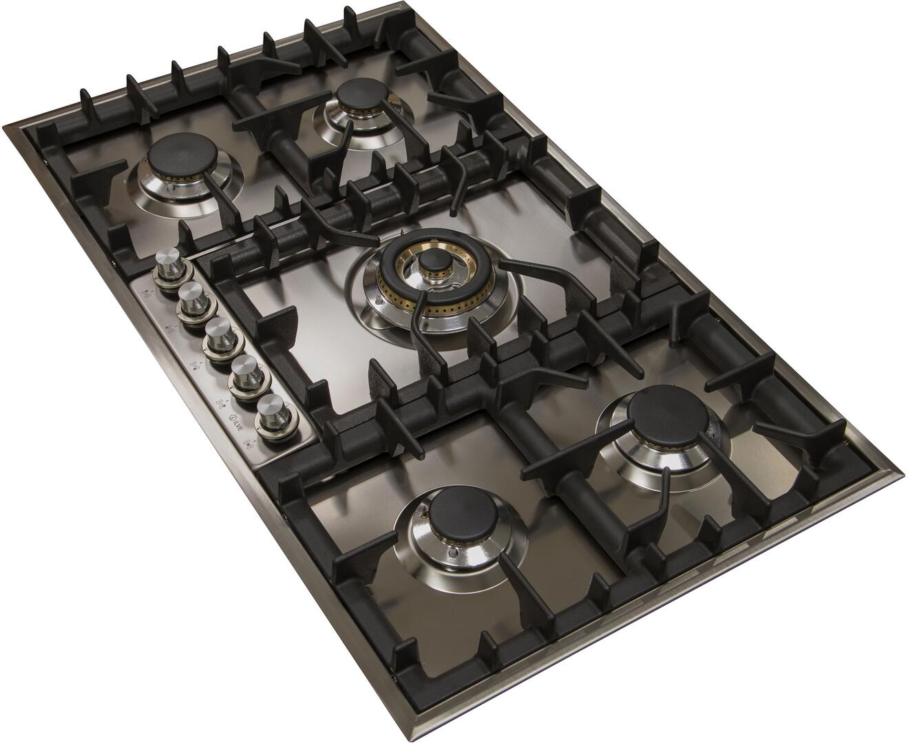 Ilve  UHP95CI Gas Cooktop Stainless Steel, UHP95CI Angled View