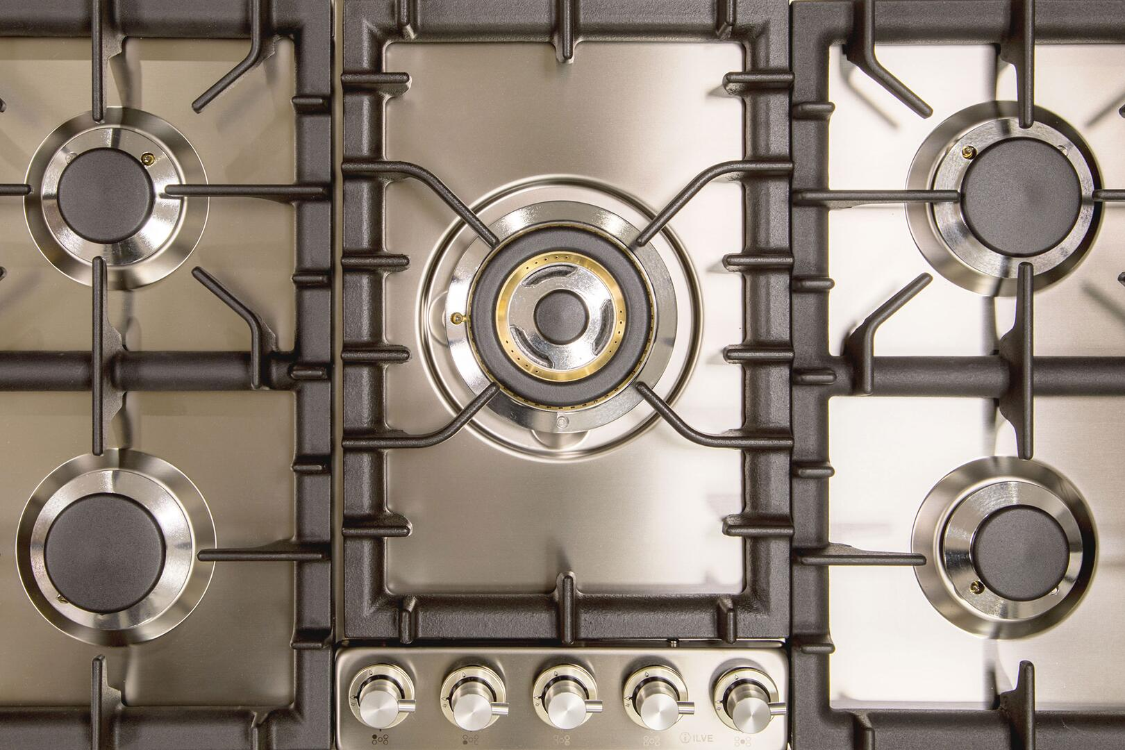 Ilve  UHP95CI Gas Cooktop Stainless Steel, UHP95CI Grate Details
