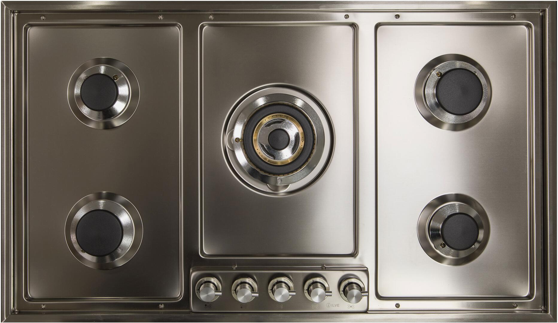 Ilve  UHP95CI Gas Cooktop Stainless Steel, UHP95CI Cooktop without Grates