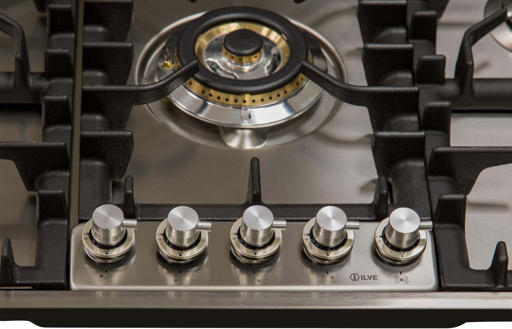 Ilve  UHP95CI Gas Cooktop Stainless Steel, UHP95CI Knob Details
