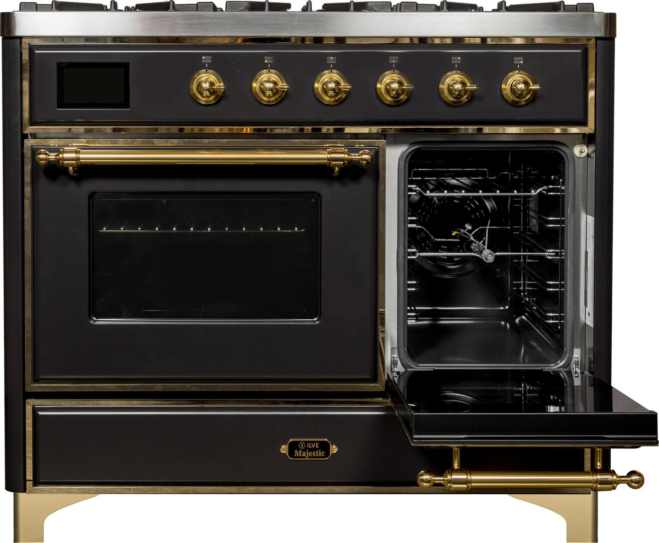 Ilve Majestic II UMD10FDNS3MGG Freestanding Dual Fuel Range Graphite, UMD10FDNS3MGG Side Oven Door Opened