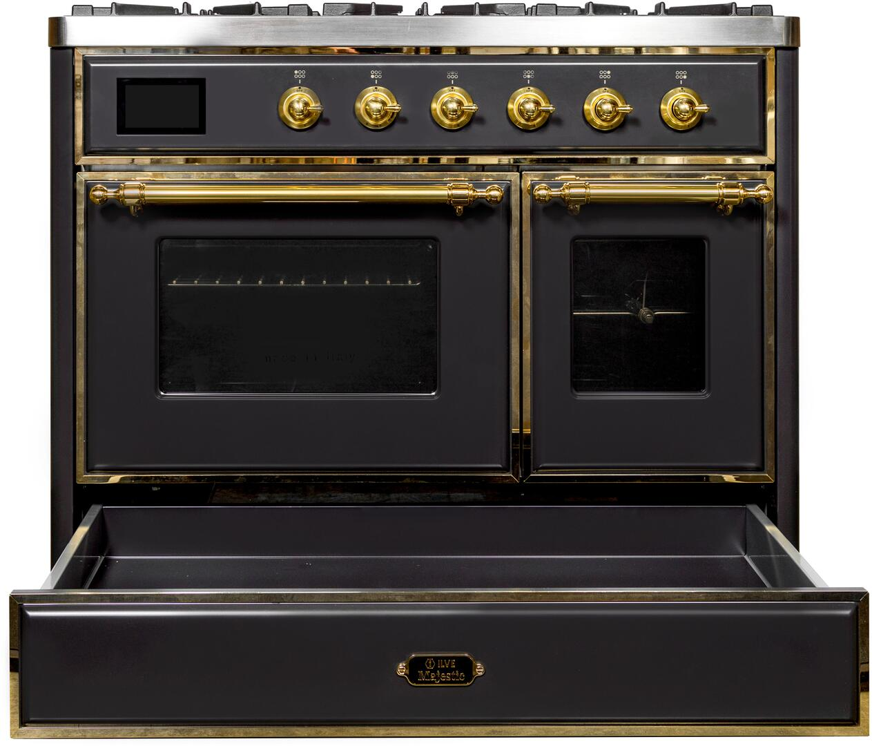 Ilve Majestic II UMD10FDNS3MGG Freestanding Dual Fuel Range Graphite, UMD10FDNS3MGG Front CD OS