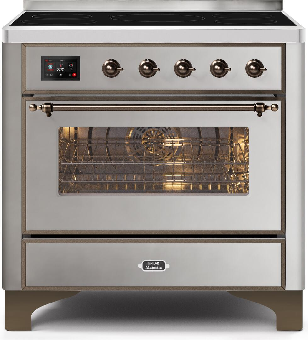 Ilve Majestic II UMI09NS3SSB Freestanding Electric Range Stainless Steel, UMI09NS3SSB-Front-CD-A