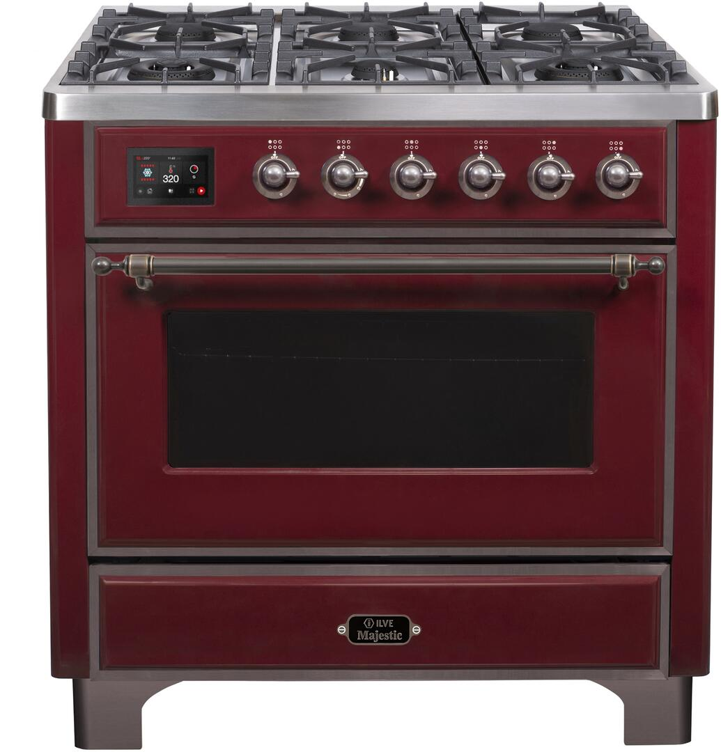 Ilve Majestic II UM096DNS3BUB Freestanding Dual Fuel Range Red, UM096DNS3BUBNG-Front-CD-A