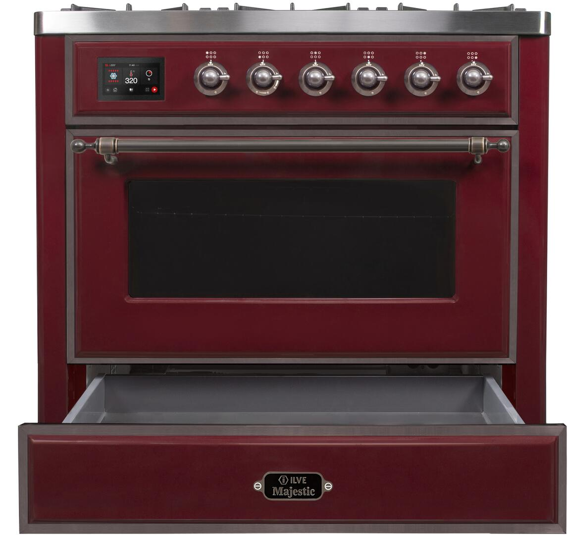 Ilve Majestic II UM096DNS3BUB Freestanding Dual Fuel Range Red, UM096DNS3BUBNG-Front-CD-OS