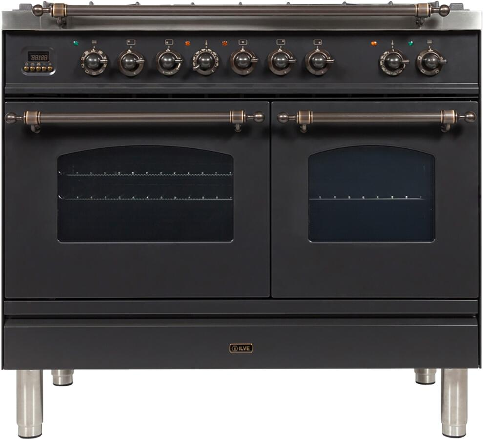 Ilve Nostalgie UPDN100FDMPMY Freestanding Dual Fuel Range Slate, UPDN100FDMPMY Dual Fuel Range