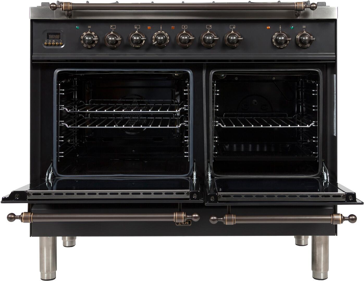 Ilve Nostalgie UPDN100FDMPMY Freestanding Dual Fuel Range Slate, UPDN100FDMPMY Oven Doors Opened