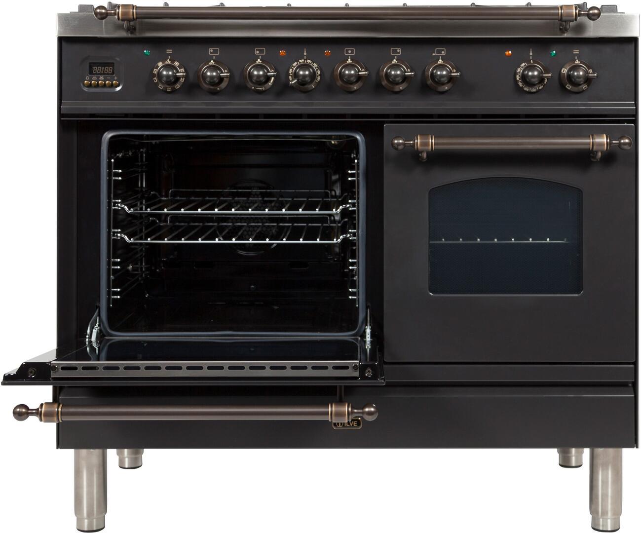 Ilve Nostalgie UPDN100FDMPMY Freestanding Dual Fuel Range Slate, UPDN100FDMPMY Main Oven Door Opened