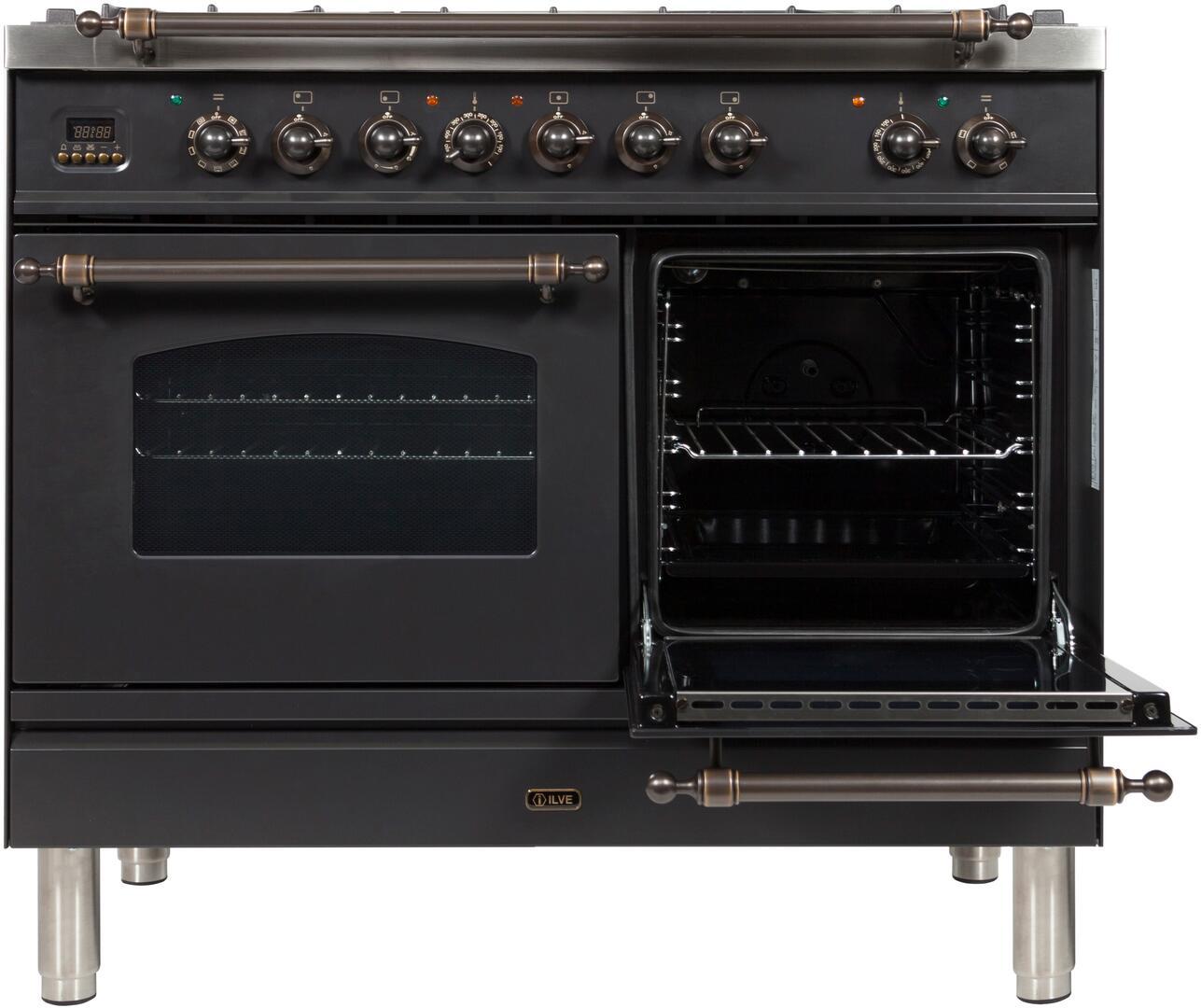 Ilve Nostalgie UPDN100FDMPMY Freestanding Dual Fuel Range Slate, UPDN100FDMPMY Secondary Oven Door Opened