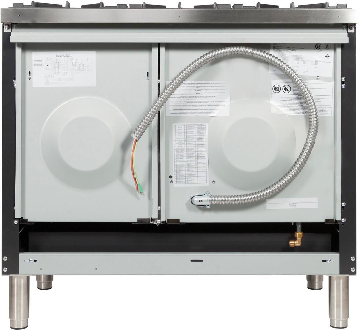 Ilve Nostalgie UPDN100FDMPMY Freestanding Dual Fuel Range Slate, UPDN100FDMPMY Back View