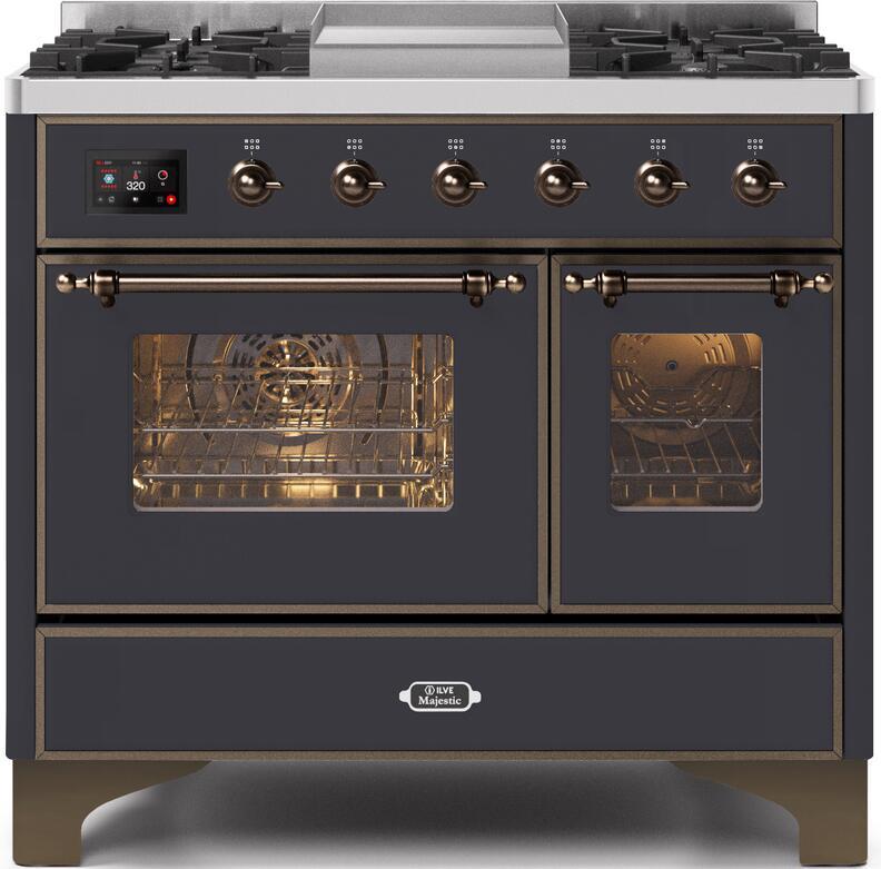 Ilve Majestic II UMD10FDNS3MGB Freestanding Dual Fuel Range Graphite, UMD10FDNS3MGB Front CD A