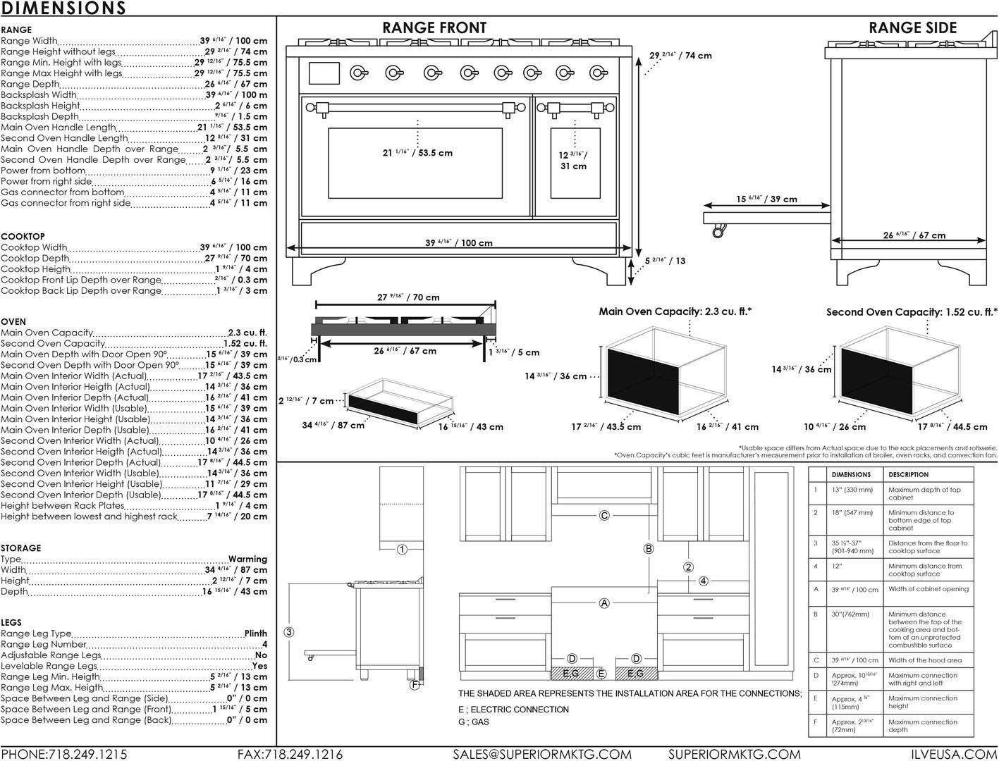 Ilve Majestic II UMD10FDNS3BGPLP Freestanding Dual Fuel Range , UMD10FD-Dimensions