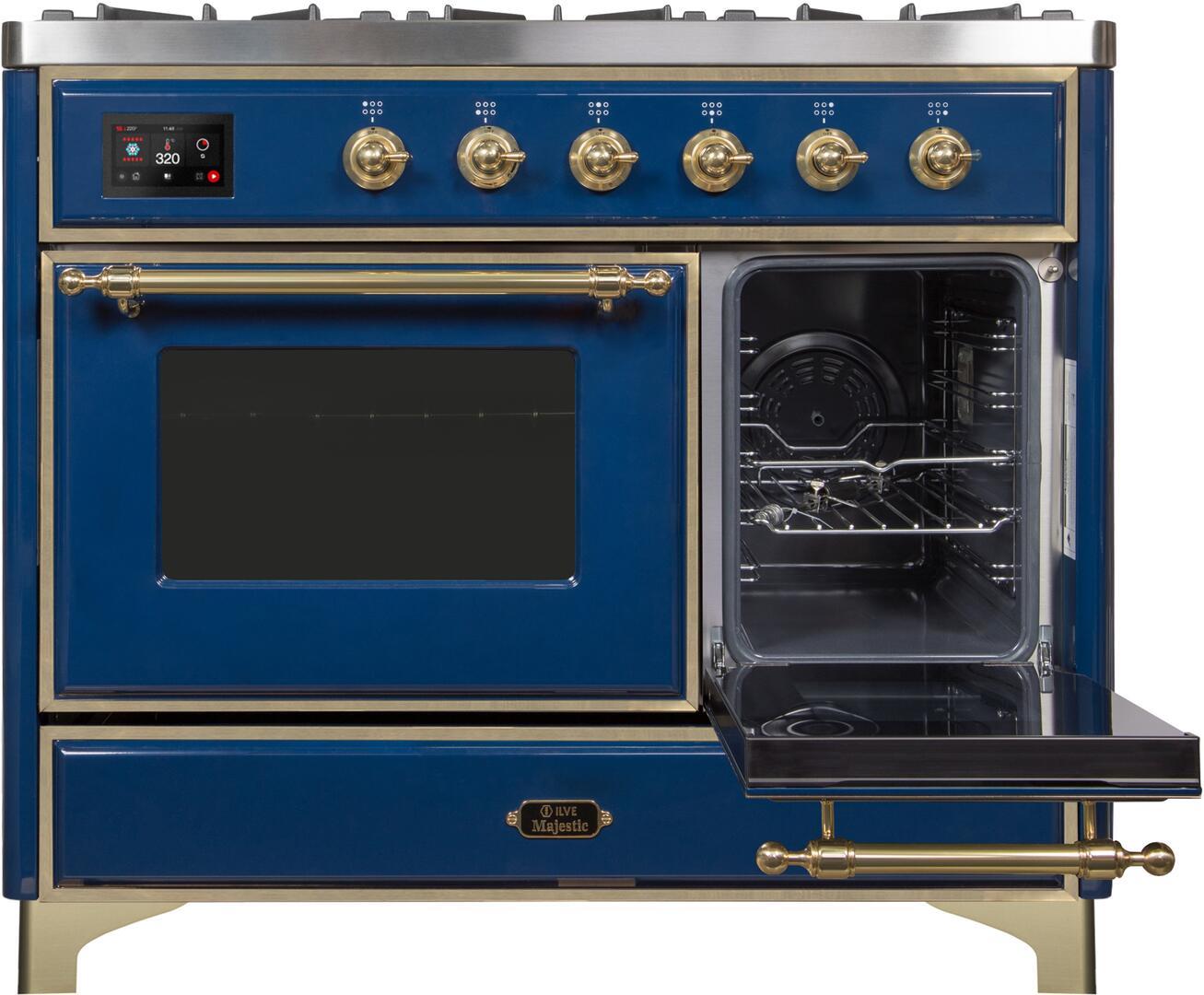 Ilve Majestic II UMD10FDNS3MBG Freestanding Dual Fuel Range Blue, UMD10FDNS3MBG Secondary Door Opened