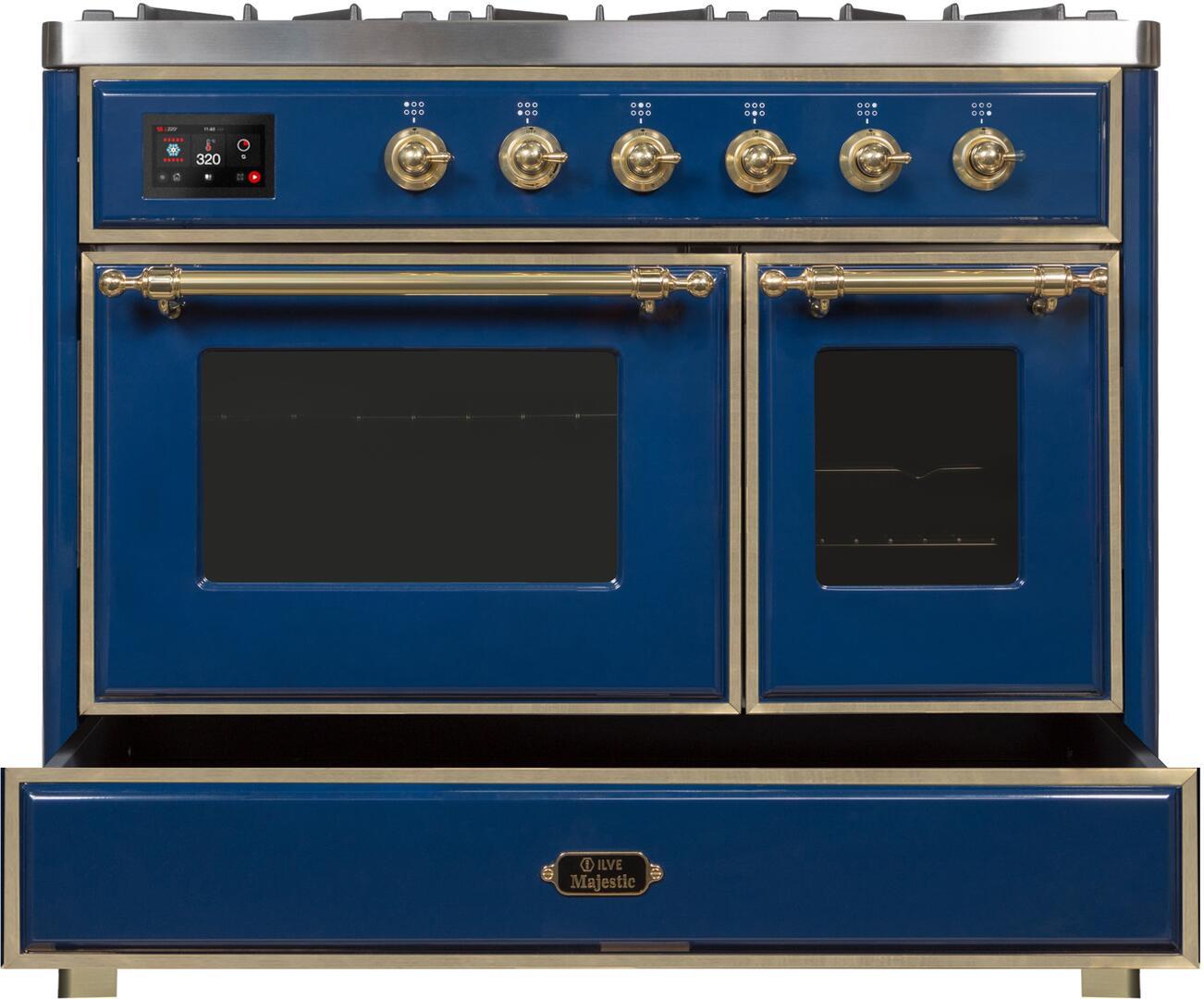 Ilve Majestic II UMD10FDNS3MBG Freestanding Dual Fuel Range Blue, UMD10FDNS3MBG Dishwarming Drawer