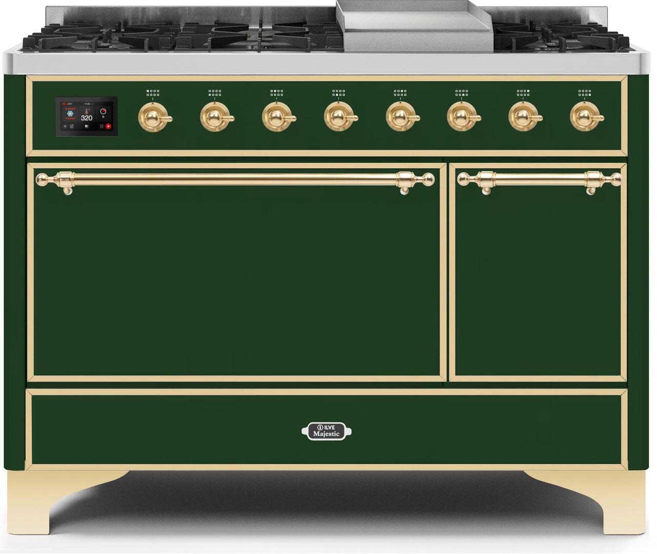 Ilve Majestic II UM12FDQNS3EGG Freestanding Dual Fuel Range Green, UM12FDQNS3EGGNG-Front-CD-A