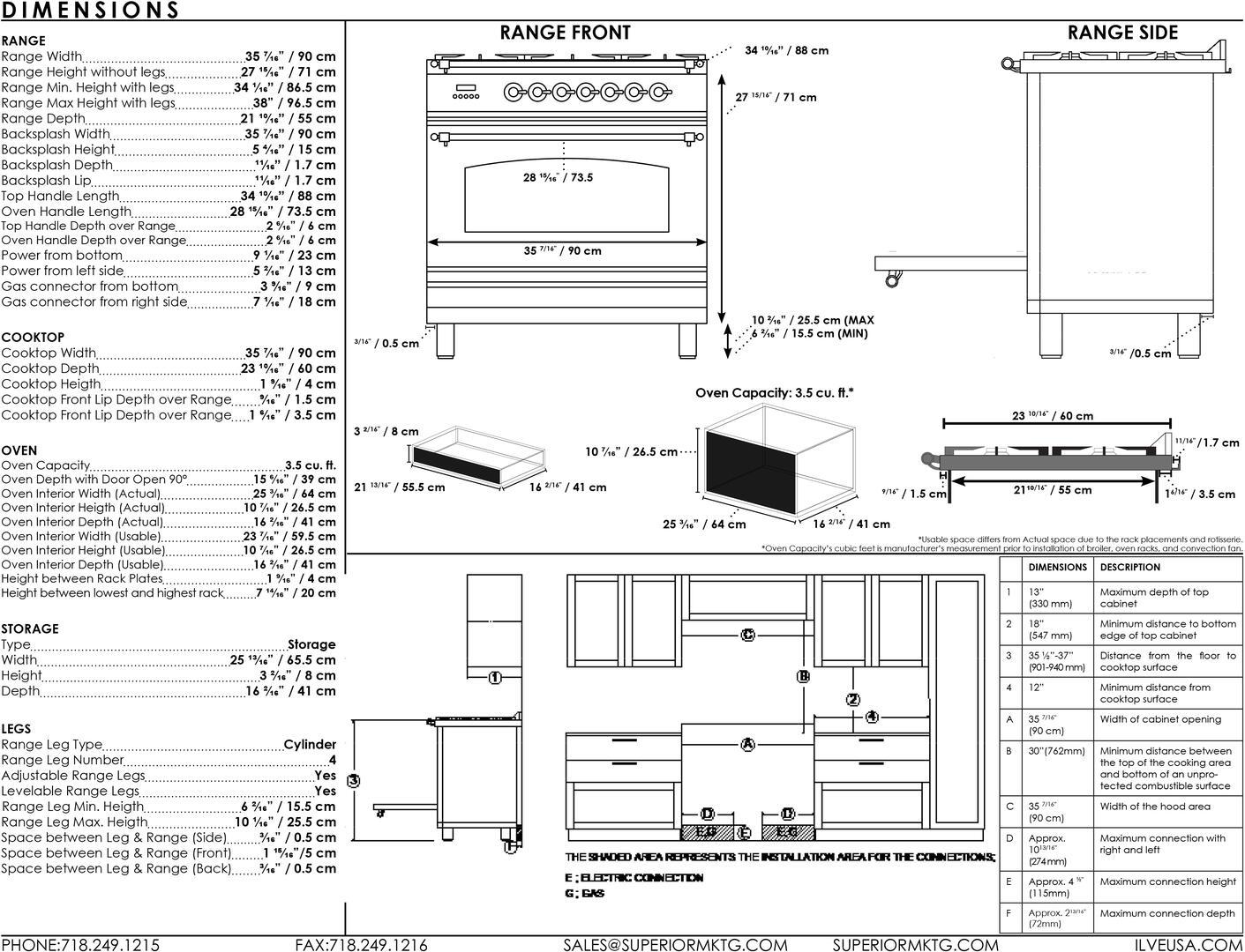 Ilve Professional Plus UPW90FDMPM Freestanding Dual Fuel Range Graphite, Dimensions Guide